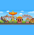 happy childen at fun fair vector image