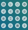 interface icons line style set with social watch vector image