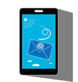 mobile phone with e-mail on screen vector image vector image