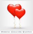 pair of 3d heart shaped air balloons vector image