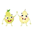 Pear Cute fruit character couple isolated vector image