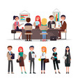 people corporate meeting sit at table exchange vector image vector image