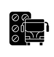 pills for motion sickness black glyph icon vector image vector image
