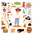 pirate character design with icons vector image vector image