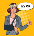 pop art beaten business woman with bandaged arm vector image vector image
