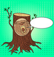pop art carved wooden bear portrait from a tree
