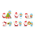 santa claus with snow maiden icons vector image