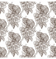 seamless pattern from outline drawings of koi vector image