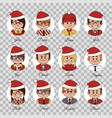 set of avatars office team in red christmas hats vector image vector image