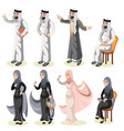 set of different standing arab people in the vector image vector image
