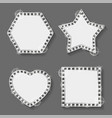 silver frames star and heart square and hexagon vector image