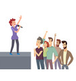 singing and listening group side view stage vector image vector image