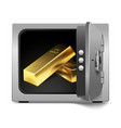 storage safe with gold bars isolated on white vector image vector image