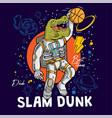 super dino t-rex play basketball vector image vector image