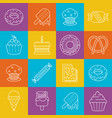 sweets and icecream lineart minimal iconset on vector image vector image