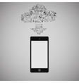 touchscreen smart phone with cloud media vector image vector image