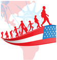 usa flag with immigration people on american map vector image vector image