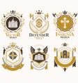 vintage heraldic coat of arms designed in award vector image vector image