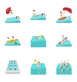 Water exercise icons set cartoon style vector image vector image