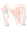 women singing and playing harp vector image vector image