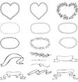 set of black-and-white frames oval shape shape of vector image