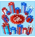 Set of gift boxes on a blue background vector image
