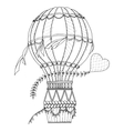 Air balloon and doodle heart Zentangle inspired vector image