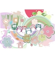 Background with owl flowers and birds vector image vector image