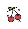 berry cherry food spring flat color icon icon vector image vector image