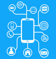 blue smart phone network background vector image vector image
