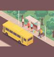 bus stop outdoor composition vector image vector image