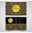 Business card template golden pattern on black vector image vector image