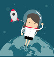 businesswoman outside a rocket in space vector image