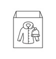 cardboard box with warm outerwear icon linear vector image vector image
