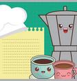 cartoon maker coffee and cup chocolate menu vector image