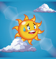character sun sweat cute face - cartoon in the vector image vector image