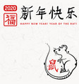 chinese new year poster with rat vector image vector image
