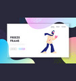 city dweller at cold weather website landing page vector image
