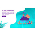 cloud computing concept with character template vector image vector image