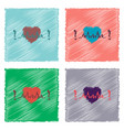 collection of flat shading style icons heart with vector image vector image