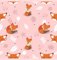 cute foxes with leaves decoration seamless pattern vector image vector image