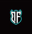 d f initial logo design with shield shape vector image vector image