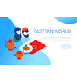 eastern world - modern colorful isometric vector image