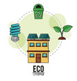 eco lifestyle house solar panel bulb recycle vector image vector image
