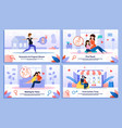 family life in pregnancy flat banners set vector image vector image