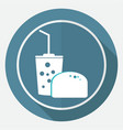 fast food icon on white circle with a long shadow vector image vector image
