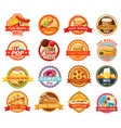 fast food snacks desserts and drink icons vector image vector image