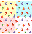 Four seamless patterns with animals vector image vector image