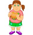 funny fat woman cartoon eating burger vector image