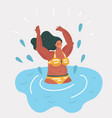 girl swimming in the pool vector image vector image